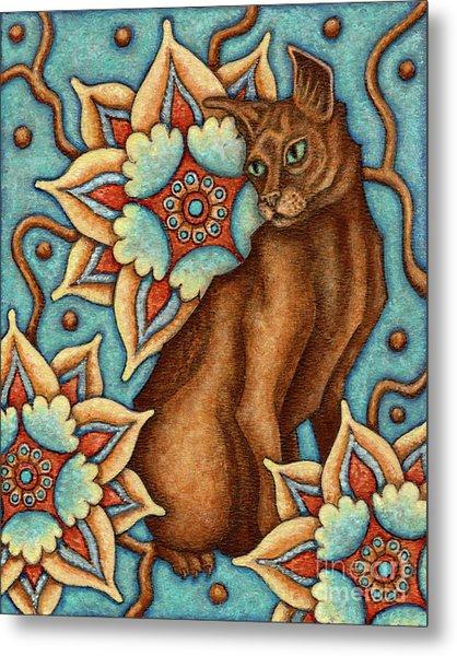 Tapestry Cat Metal Print