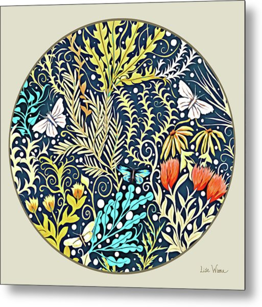 Tapestry Design Button Metal Print