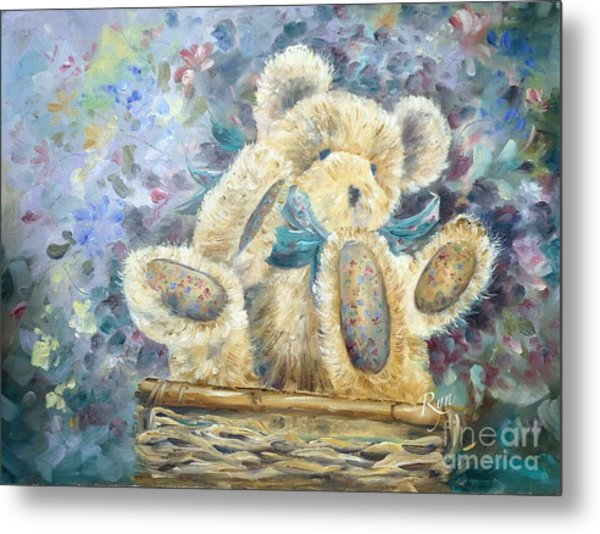 Teddy Bear In Basket Metal Print