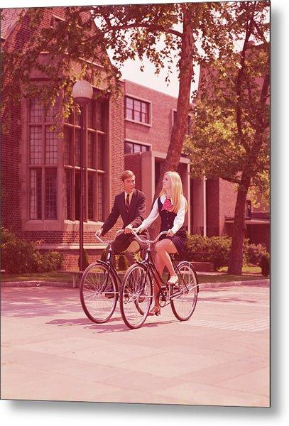 Teenage Couple Riding Bicycles Past Metal Print