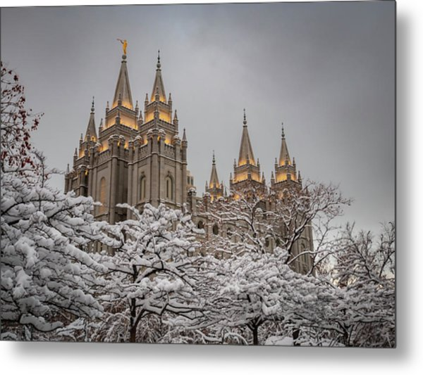 Temple In The Snow Metal Print