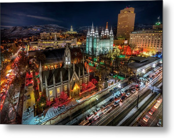 Temple Square Lights Metal Print