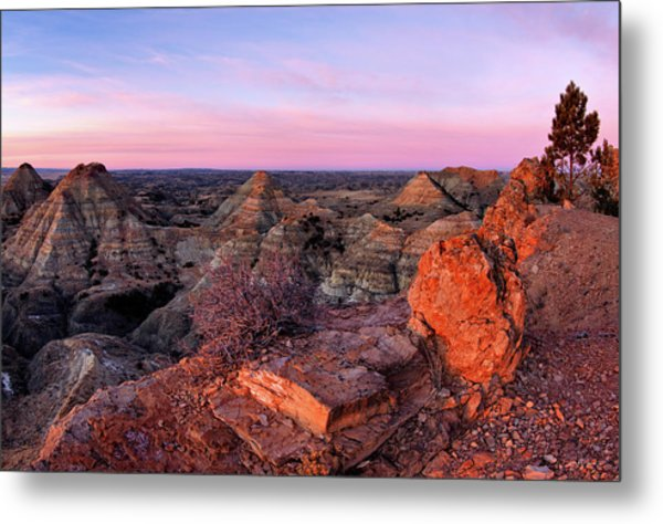 Terry Badlands Sunrise Metal Print by Leland D Howard