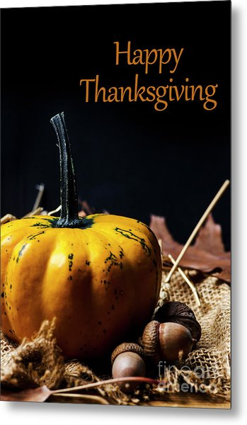 Thanksgiving Dinner Invitation Card. Metal Print
