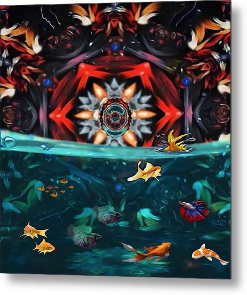 The Abstract Fish Tomb Metal Print