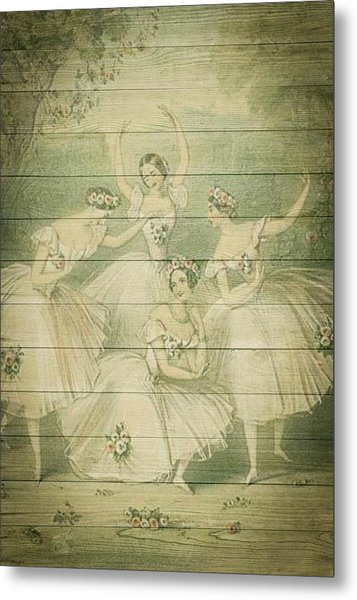 The Ballet Dancers Shabby Chic Vintage Style Portrait Metal Print