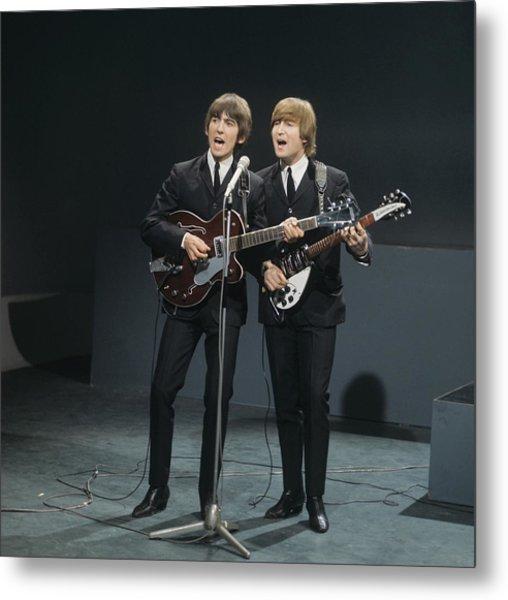 The Beatles Perform On Shindig Metal Print by David Redfern