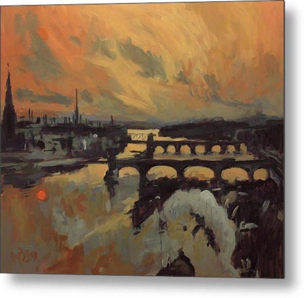 The Bridges Of Maastricht Metal Print