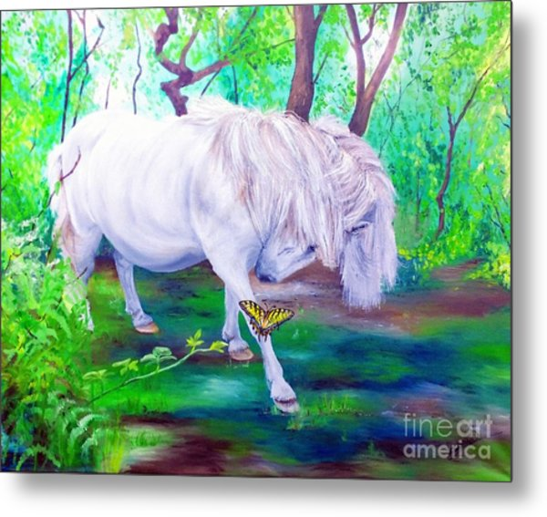 The Butterfly And The Pony Metal Print by Abbie Shores