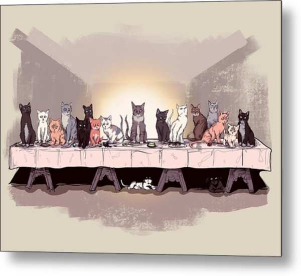 The Cat Supper Metal Print