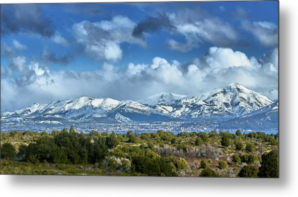 The City Of Bariloche And Landscape Of Snowy Mountains In The Argentine Patagonia Metal Print