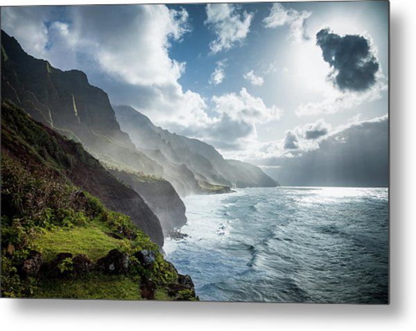 Metal Print featuring the photograph The Cliffs Of Kalalau by Tim Newton