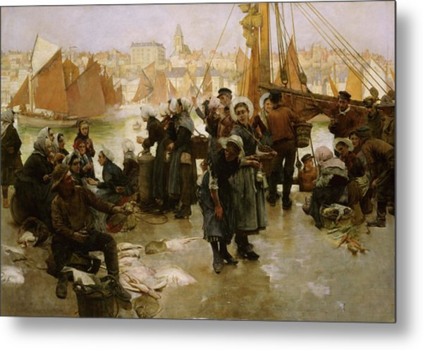 The Departure Of The Fishing Fleet, Boulogne Metal Print