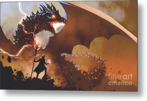 Metal Print featuring the painting The Dragon Wizard by Tithi Luadthong