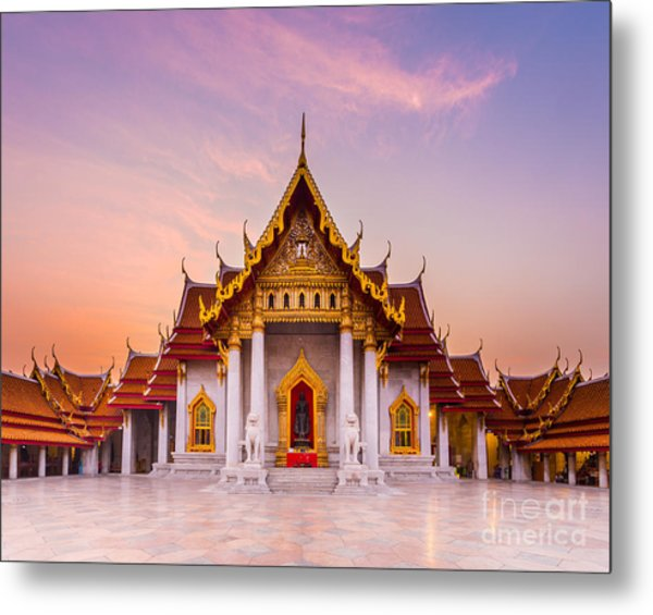 The Famous Marble Temple Benchamabophit Metal Print
