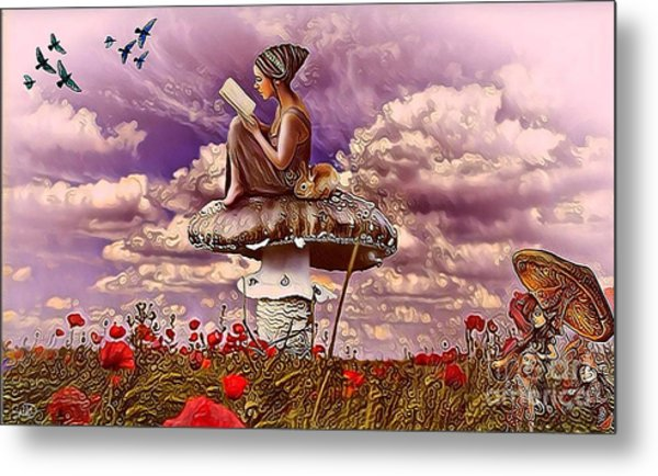 The Girl On The Mushroom Metal Print