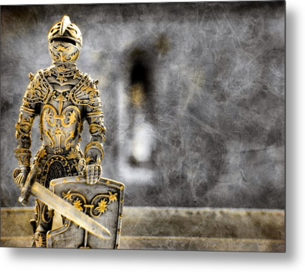 The Golden Miniature Knight Metal Print