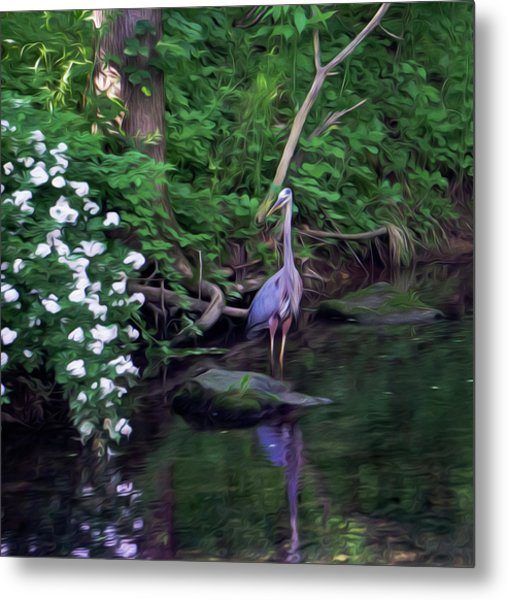 The Great Blue Heron - Impressionism Metal Print