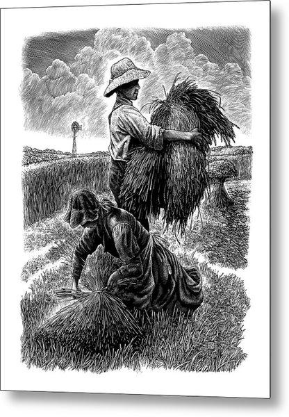 The Harvesters - Bw Metal Print