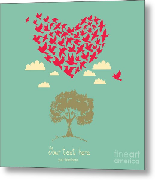 The Heart Of The Birds. Love Colorful Metal Print