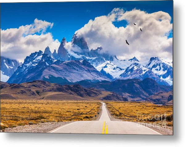 The Highway Crosses The Patagonia And Metal Print