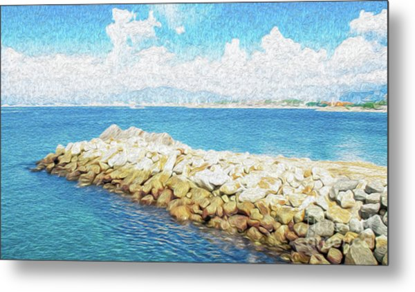 Metal Print featuring the digital art The Jetty In Manzanillo, Mexico by Kenneth Montgomery
