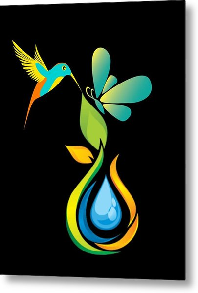 The Kissing Flower And The Butterfly On Flower Bud Metal Print