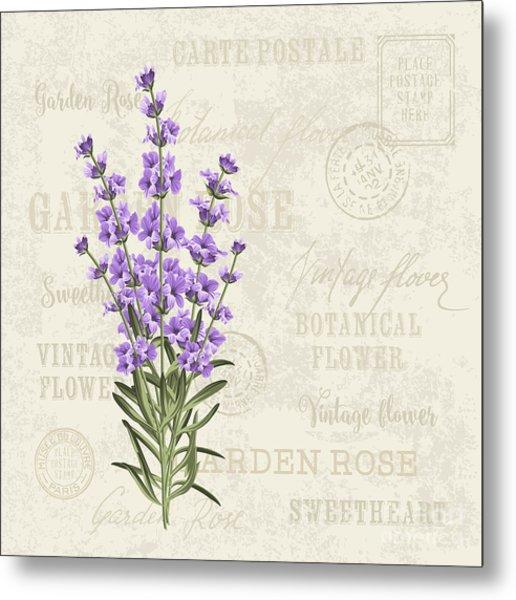 The Lavender Elegant Card. Vintage Metal Print