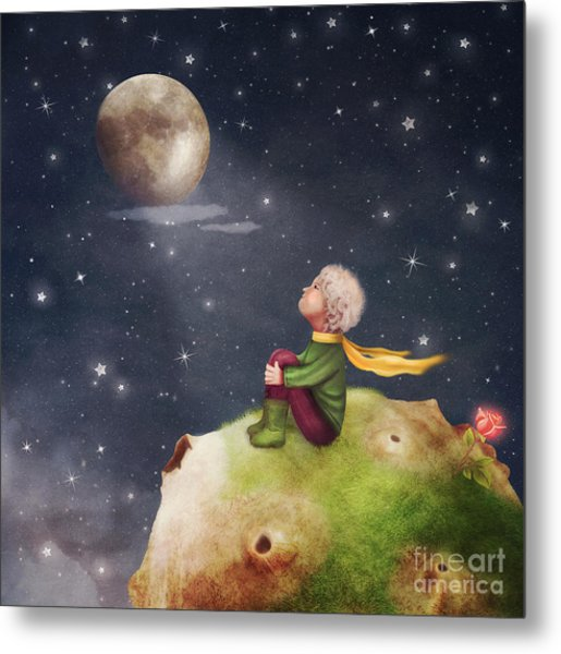 The Little Prince With A Rose On A Metal Print
