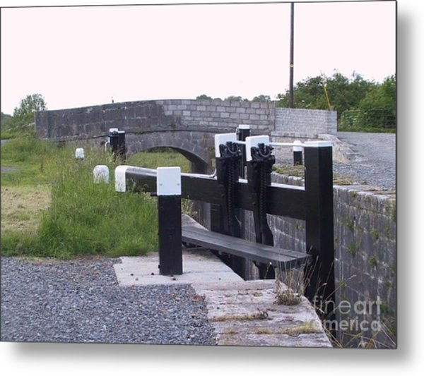 Metal Print featuring the painting The Locks At Cloondara, Co. Longford by Val Byrne