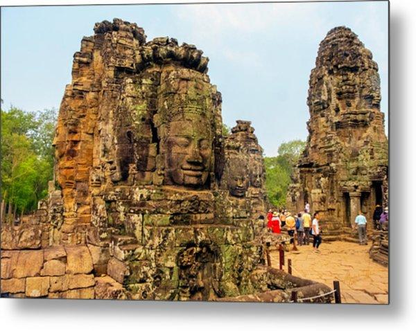 The Many Faces At Bayon Temple, Angkor, Cambodia Metal Print