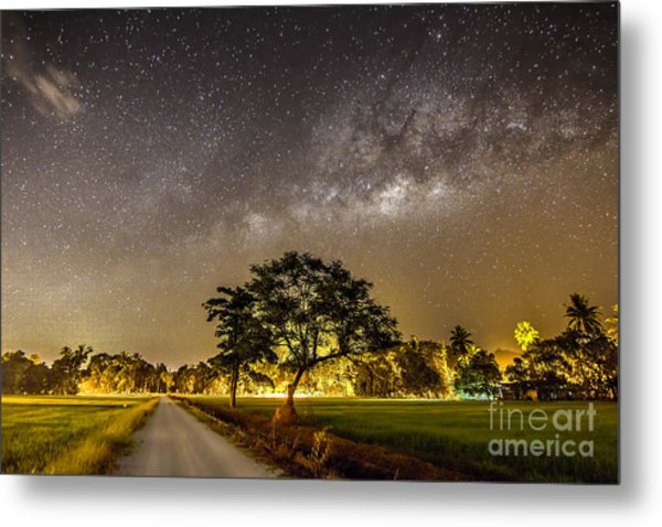 The Milky Way And The Tree Stand Alone Metal Print by A.aizat