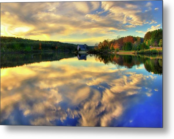 Metal Print featuring the photograph The Old Stone Church - Autumn Reflections by Joann Vitali