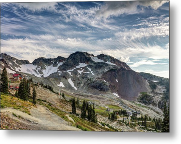 Metal Print featuring the photograph The Peak Of Whistler Mountain With Amazing Cloud Formations by Pierre Leclerc Photography