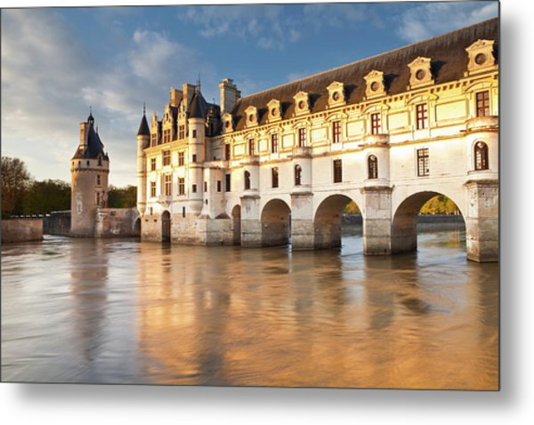 The River Cher And Chateau Chenonceau Metal Print