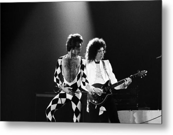 The Rock Group Queen In Concert Metal Print by George Rose