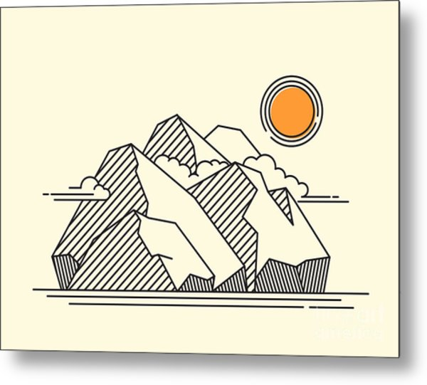 The Rocky Mountains Landscape - Lineart Metal Print