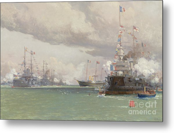 The Royal Yacht Victoria And Albert IIi Reviewing The Anglo French Fleet In Cowes Road, 1905 Metal Print