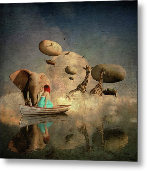 Metal Print featuring the digital art The Run Of The Animals To The Ark by Jan Keteleer