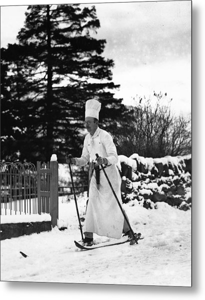 The Skiing Chef Metal Print by Fox Photos