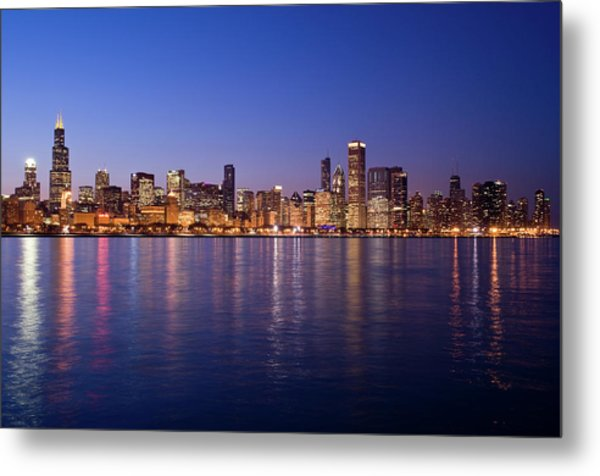 The Skyline At Night In Chicago Metal Print