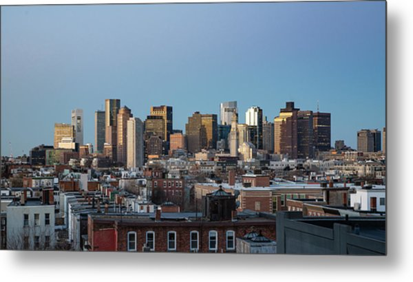 The Skyline Of Boston In Massachusetts, Usa On A Clear Winter Ev Metal Print