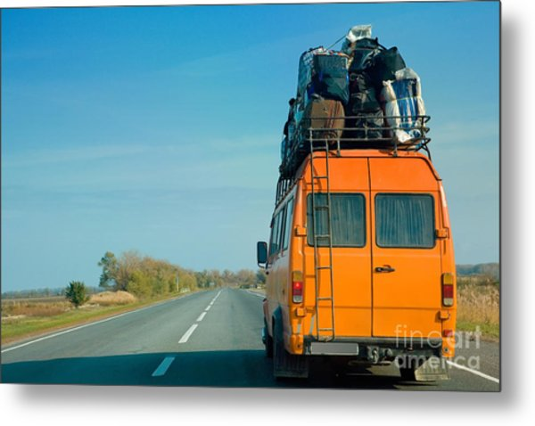 The Small Bus With Bags On A Roof Metal Print