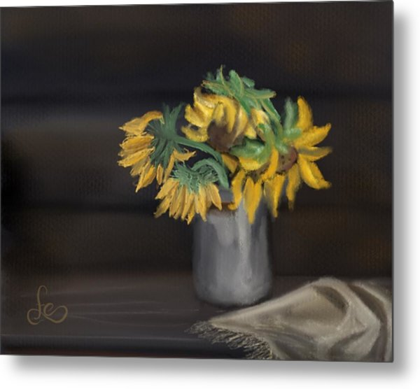 Metal Print featuring the painting The Sun Flowers  by Fe Jones