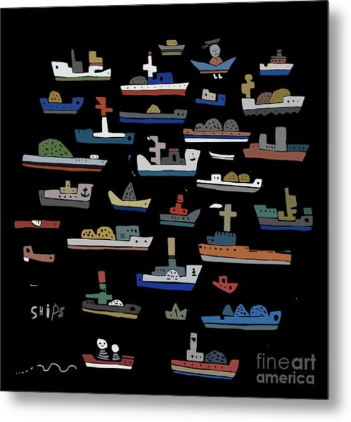The Symbolic Image Of The Ships On A Metal Print