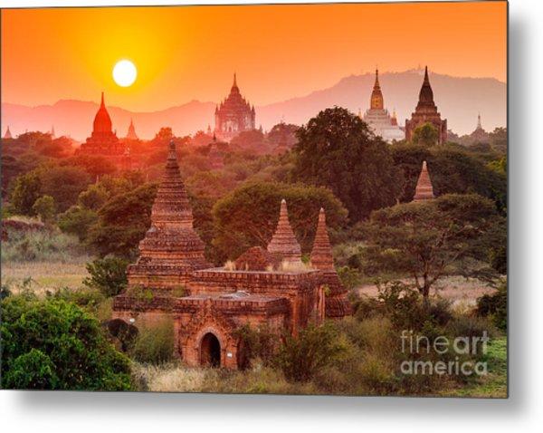 The  Temples Of Baganpagan, Mandalay Metal Print