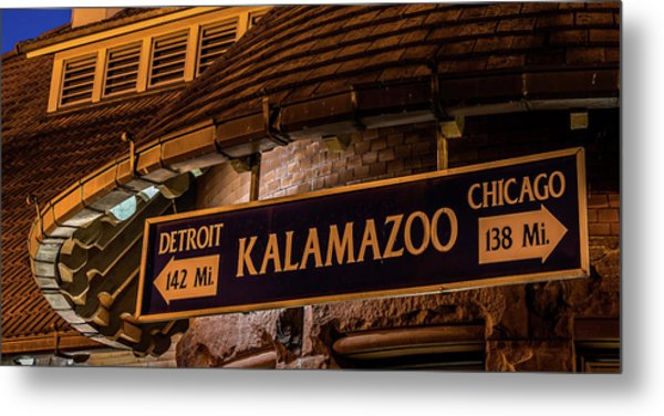 The Train Station Sign In Kalamazoo Metal Print
