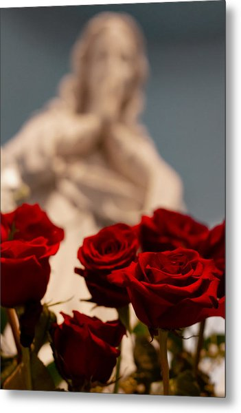 The Virgin With Roses Metal Print by Christine Buckley