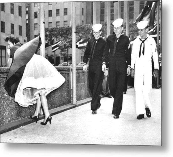 The Wind Is With Them. Helen Evans Metal Print by New York Daily News Archive