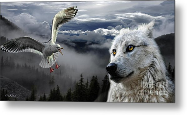 The Wolf And The Gull Metal Print